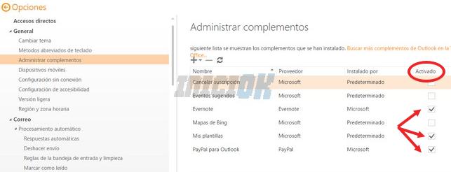 Administrar complementos correo hotmail