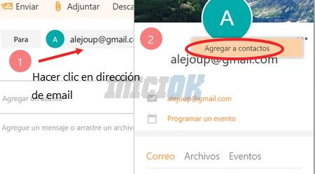 Agregar a contactos desde el email correo hotmail