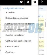 Menú configuración, correo hotmail