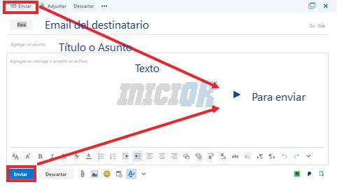 Escribir un nuevo correo electrónico hotmail
